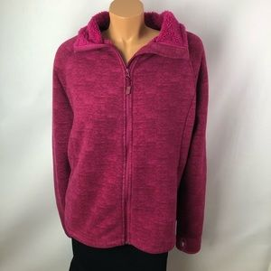 Nola hot pink fleece zip up cardigan sweater Sz 2X